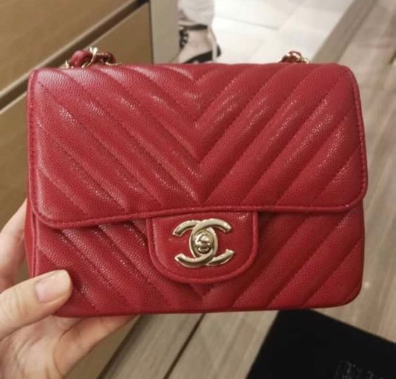 092a0256d Chanel raspberry red mini square, Luxury, Bags & Wallets, Handbags ...
