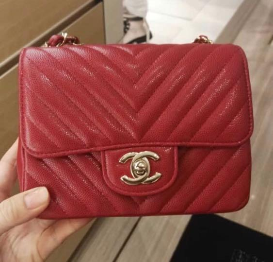 97254a8a Chanel raspberry red mini square, Luxury, Bags & Wallets, Handbags ...