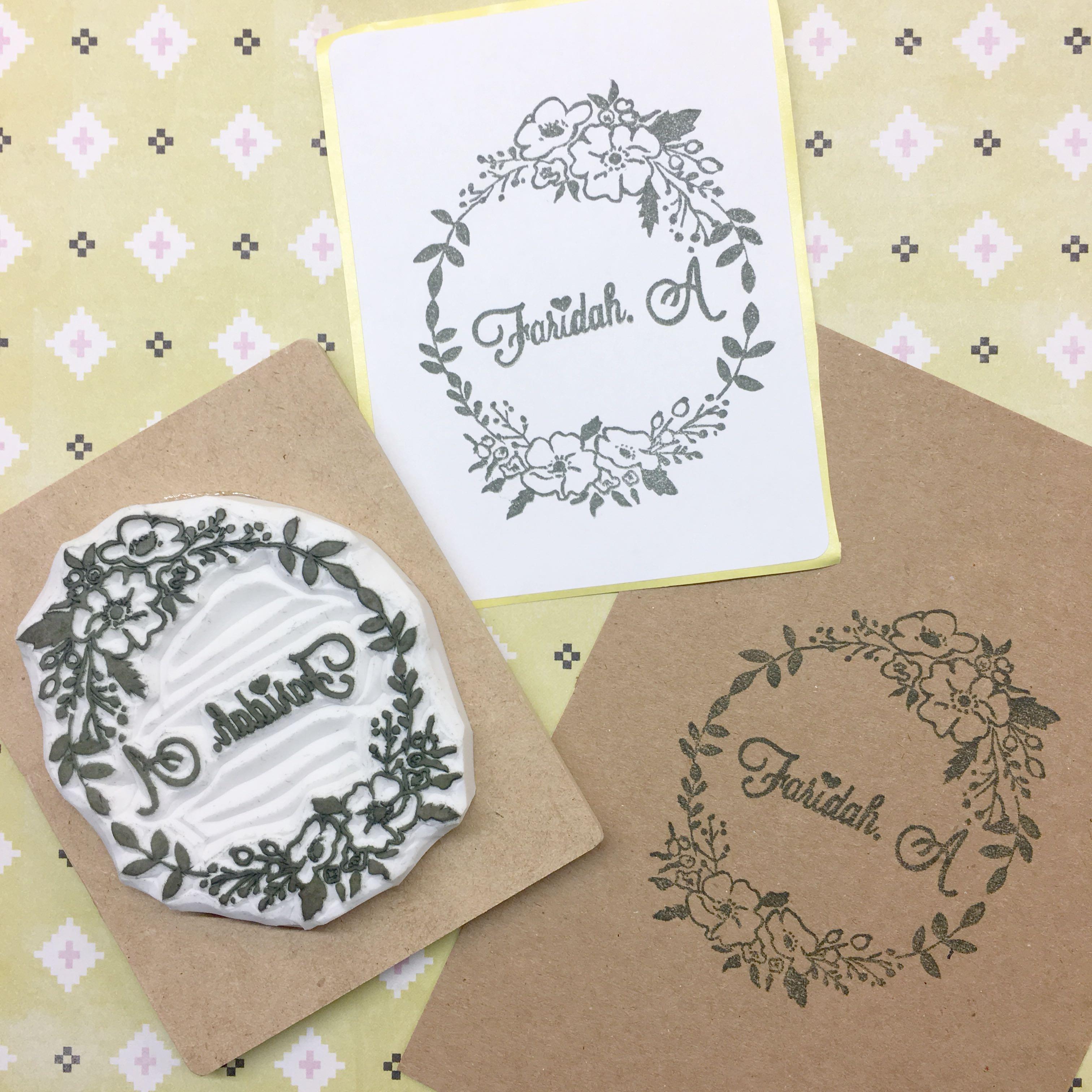Custom Rubber Stamp Wedding Floral Bouquet Invitation Garland