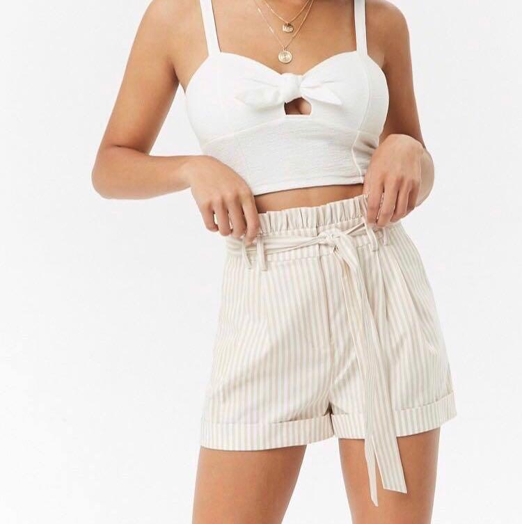 cream high waisted shorts