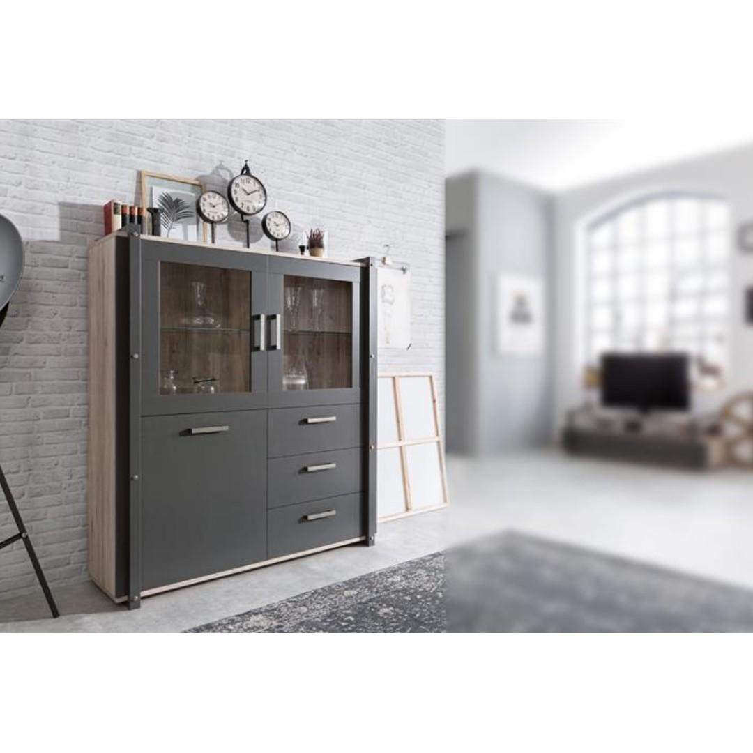 Glass Display Cabinet Industrial Style 130cm Furniture