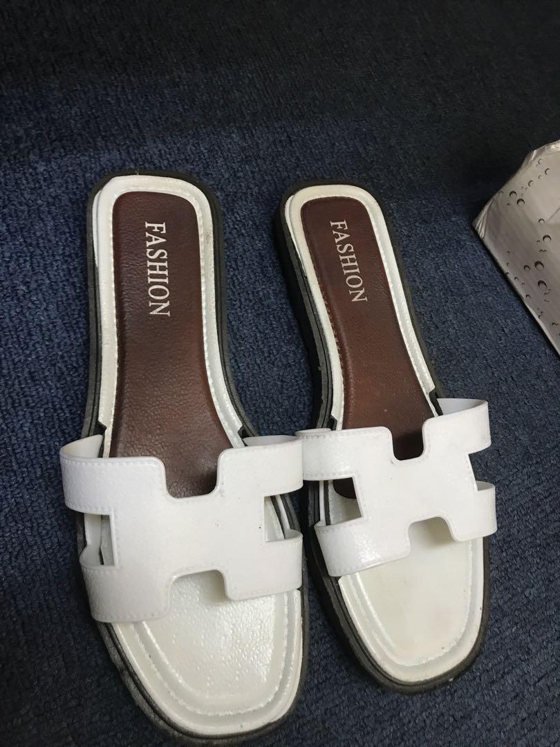 4d86be8e728 Hermes H white Greece slides Oran sandals flip flop slippers slip on ...