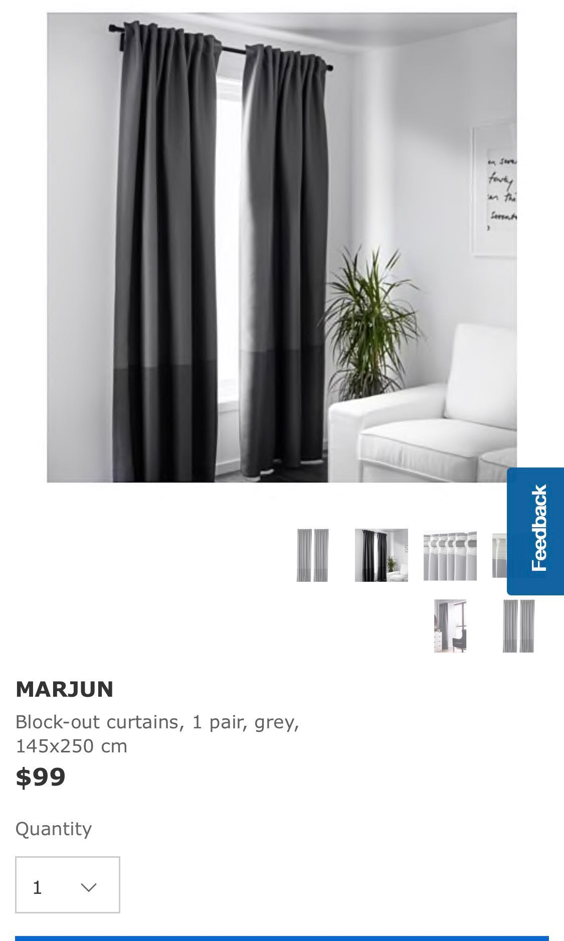 Ikea Blackout Curtains Grey With Free Curtain Rod And L Brackets