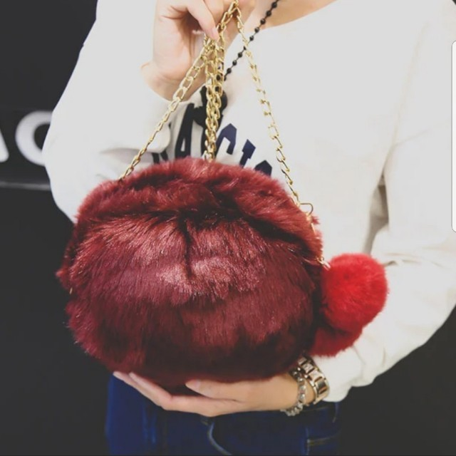 51a500883d96 INSTOCKS  Furry Pom Pom Chain Sling Hand Bag