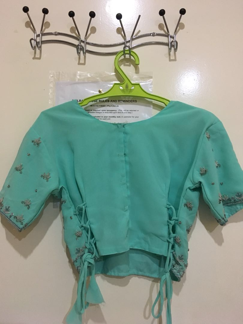 c2b25794819a Mint Green Crop Top with Beads