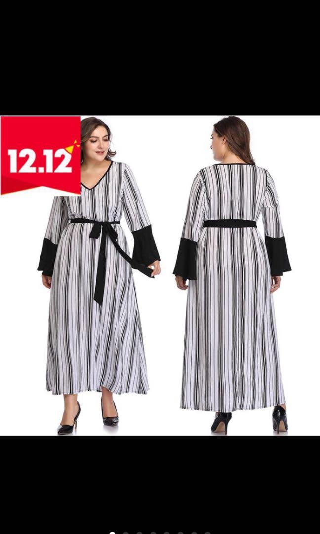 87446a4c2b3 PLUS SIZE Women Elegant Striped Long Sleeve Long Maxi Dress