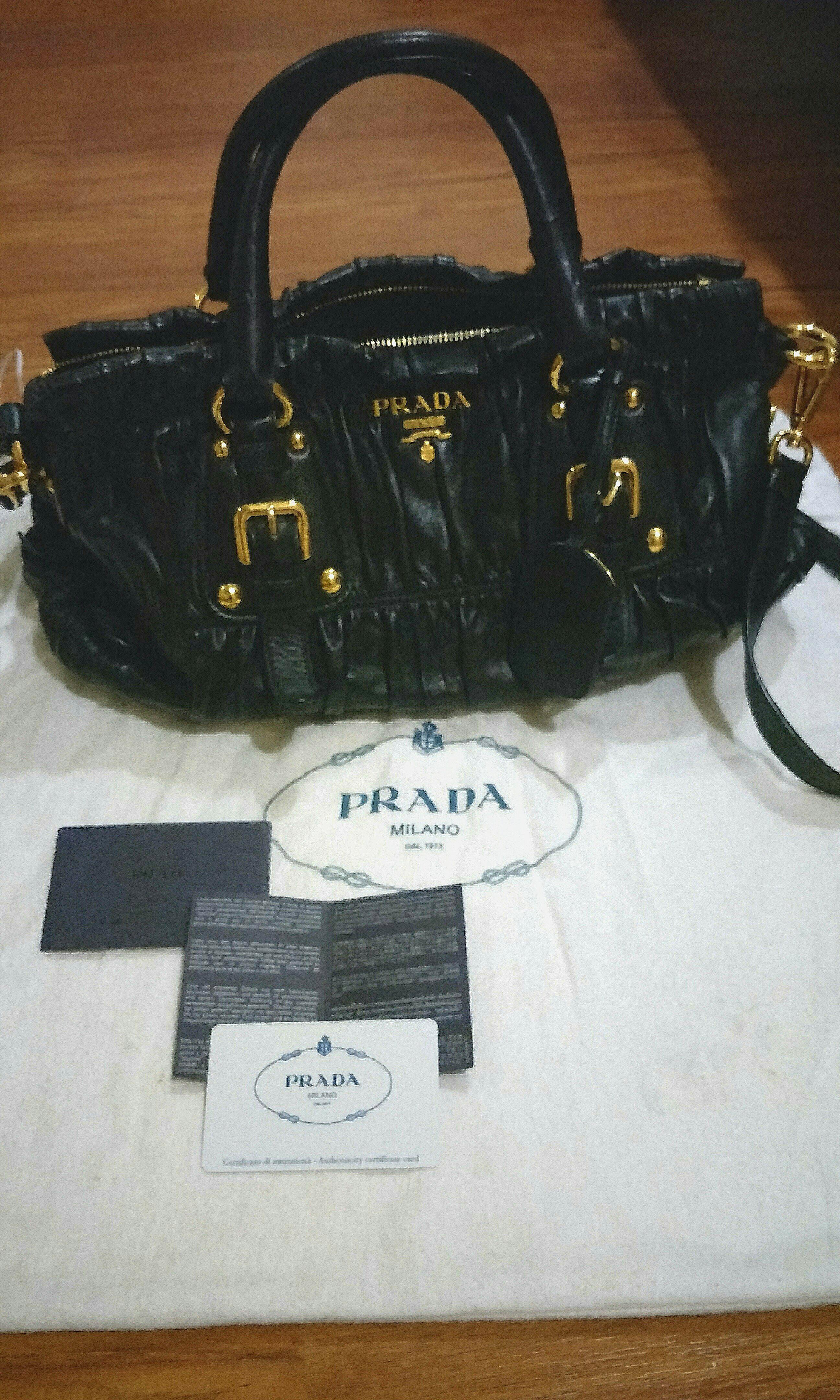 33c1f4f481d5 PRADA Nappa Gaufre Black Leather BN1407 (Authentic), Luxury, Bags ...