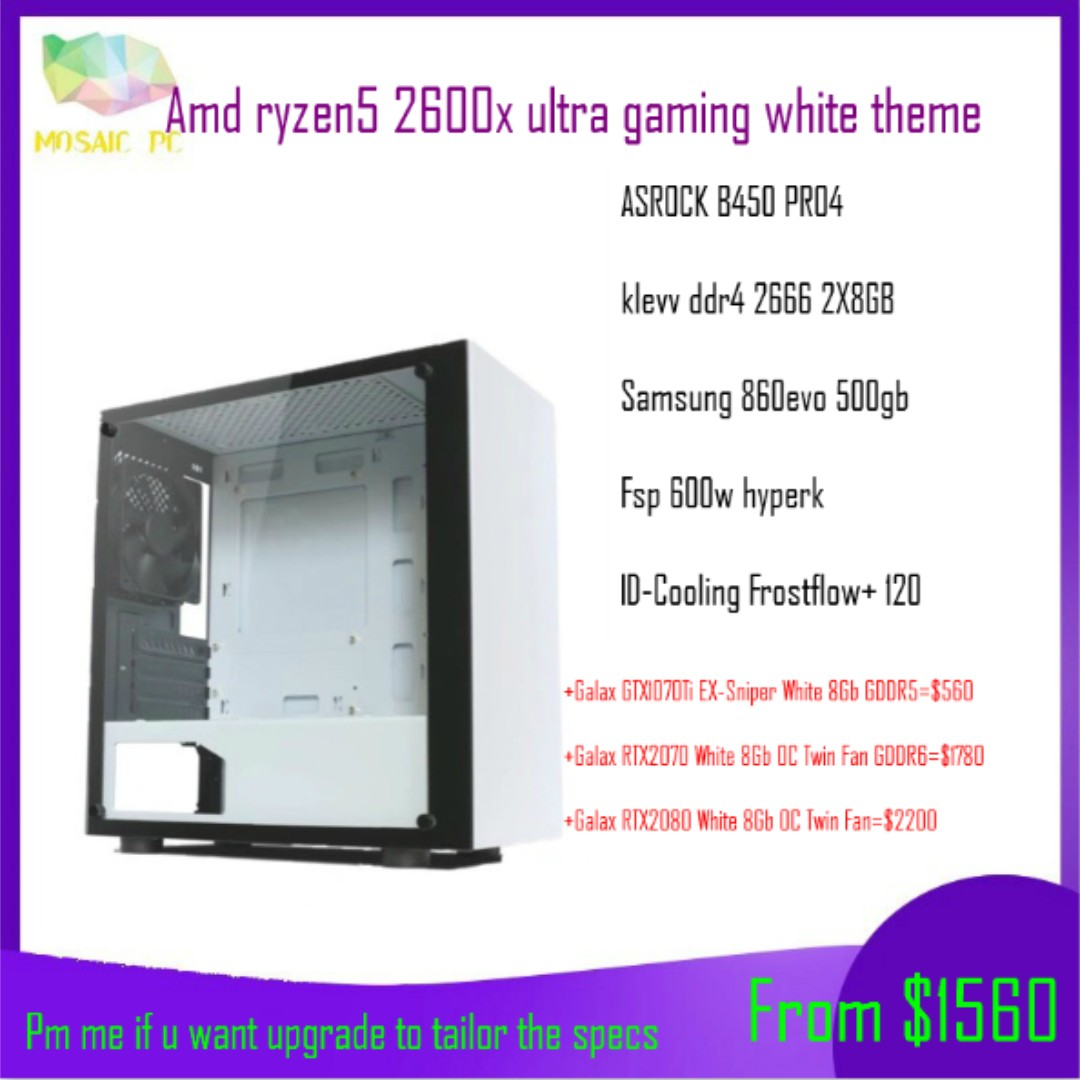 (Promo!!!) Amd ryzen 5 2600x liquid cooling gaming desktop pc with  gtx1070ti/rtx2070/2080(Pm me if u want upgrade or tailor the specs)