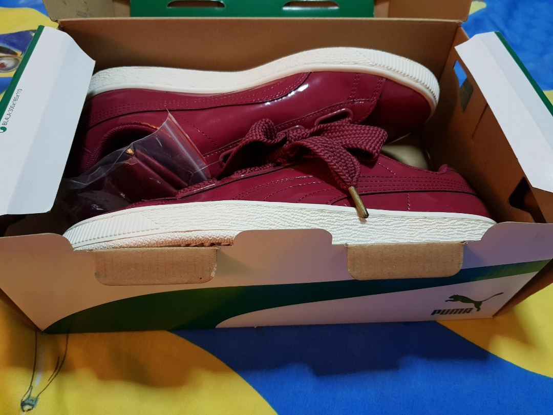 f7c32aef91d47d Puma - Basket Heart Patent Wn's Red, Women's Fashion, Shoes ...