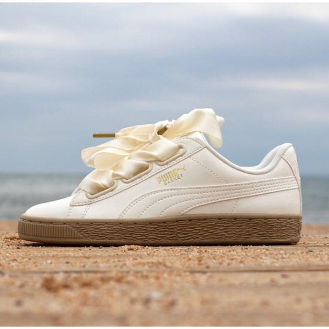 puma basket heart trainers in patent marshmallow dd2ae5260