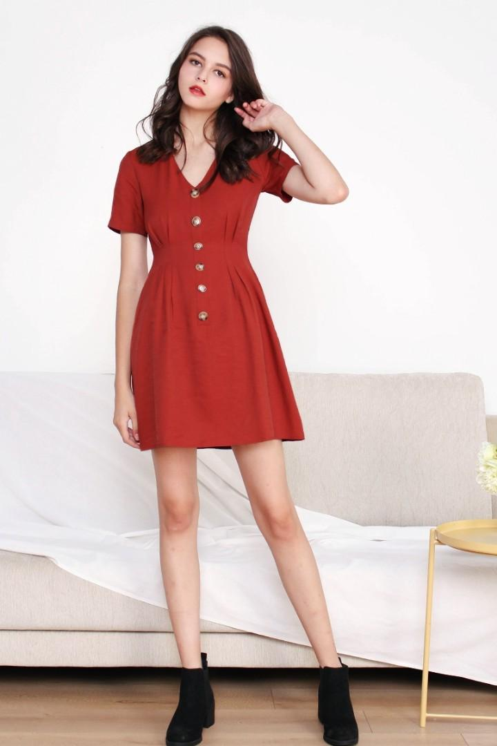 [SOLD] The Willow Label pintuck dress in brick