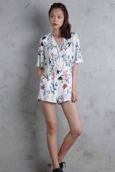 c53a2655ea9663 TTR Azalea Kimono Romper (White Florals) M