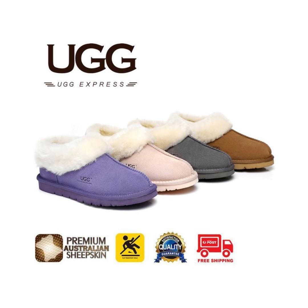 UGG Homey unisex Slippers/Scuffs, Premium Australian Sheepskin,Suede Upper