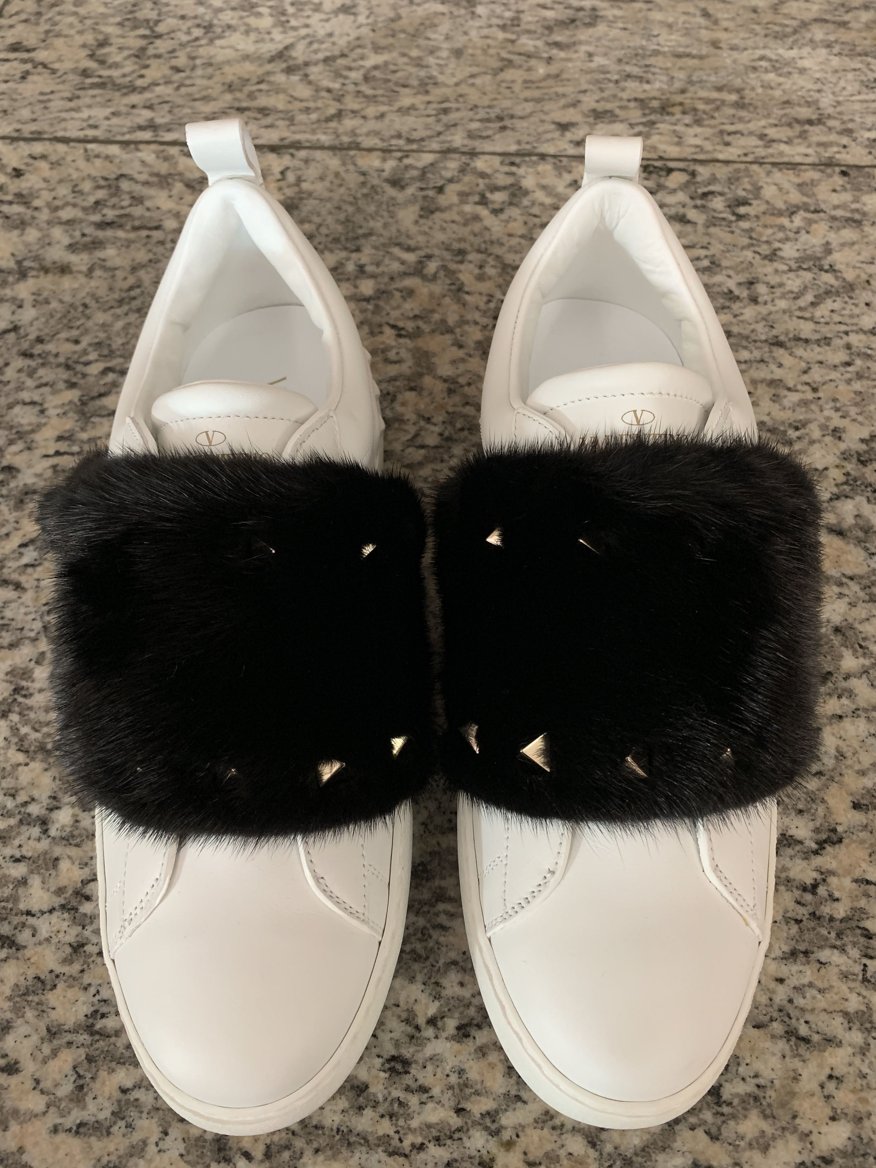 ddc8f19b9 Valentino White with Black Fur   Gold Studs Sneakers