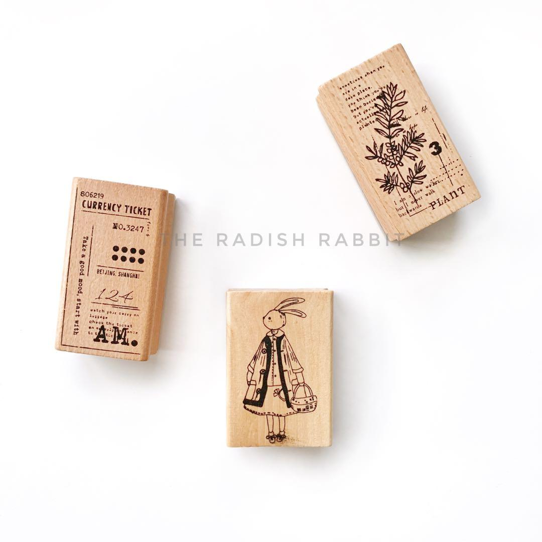 Wooden rubber stamp - ABSTRACT AM