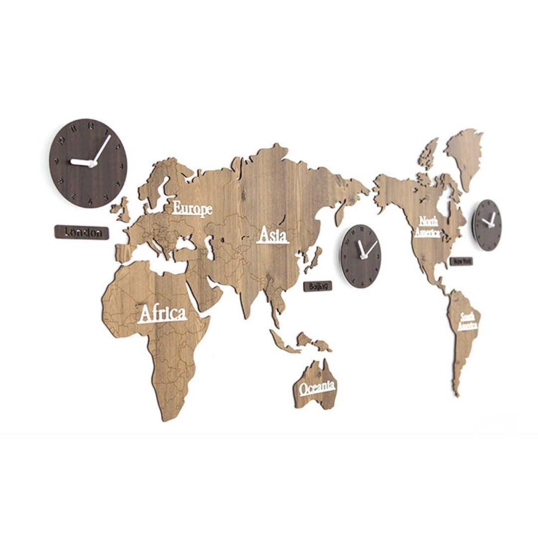World Map Wall Clock Wood Everything Else On Carousell