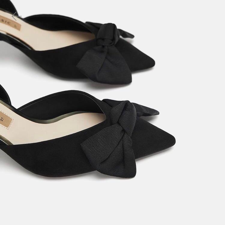 b1d31375a09 ZARA high heel slides with bow
