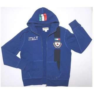【跨年前賣場任2件減200】加拿大品牌 ROOTS 水獺海狸 寶藍色 ITALY國旗款 連帽運動外套 M號 (8成5新)
