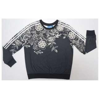 【跨年前賣場任2件減200】愛迪達 ADIDAS BY FARM 三葉草 黑色花卉 長袖T恤 38號 約M號 (近全新)