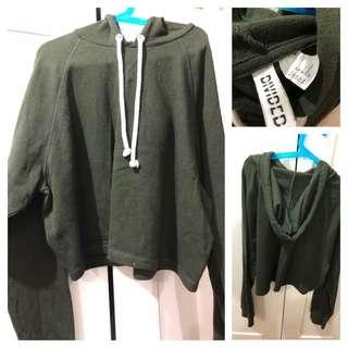 (Used) H&M brush back cropped hoodies 有帽短身衛衣