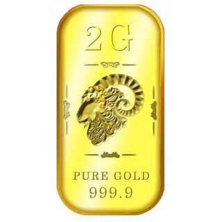 Singapore Pure Gold 2g SG Goat Gold Bar