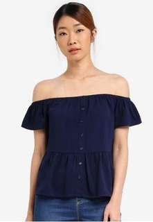 Zalora Something Borrowed Off Shoulder Button Down Top