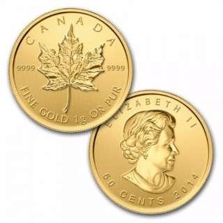 1 gram Canadian Gold Maple Leaf - Maplegram25™ (In Assay Sleeve)