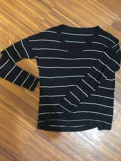 Black White Thin-striped Long Sleeves