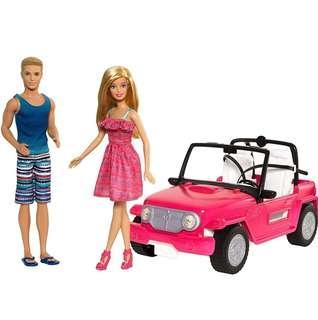 BN Barbie Beach Cruiser Car Vehicle with Barbie and Ken Dolls