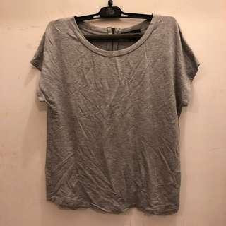 forever21 zip grey tee top
