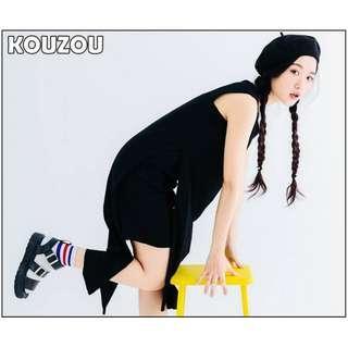 (全新) 雙層設計簡約長版棉質背心 前短後長 假兩件側開衩無袖洋裝連衣裙 KOUZOU Vii&Co 行星 Ures