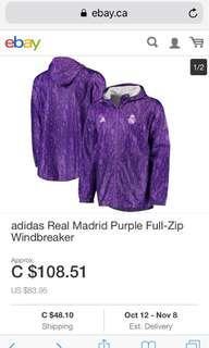Adidas Real Madrid Purple Full Zip Windbreaker