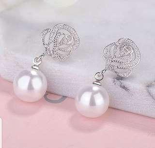 BN Rose Pearl Drop Earrings