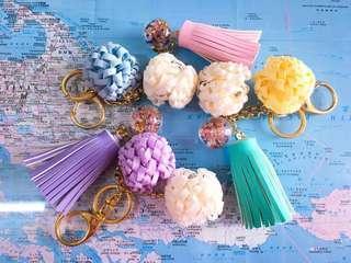 全新~手作施華洛水晶玻璃鎖匙扣 20cm長/ Handmade swarovski crystal key chain 20cm