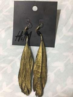 Black & Gold Feather Earrings