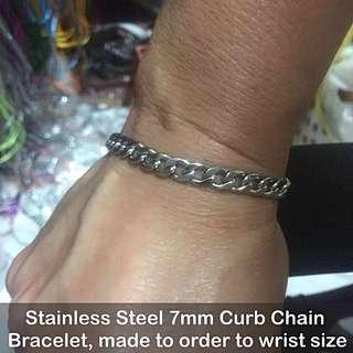 Stainless Steel 7mm Curb Chain Bracelets [customise to wrist size; uncle anthony] FOR MORE PICS & DETAILS, 👉http://carousell.com/p/113417246
