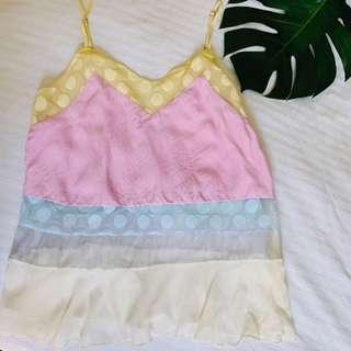 Shakuhachi ice cream vibed silk summer top, size 10 (price includes post)