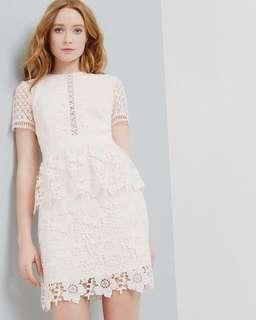 Ted Baker Dixa layered lace dress in baby pink