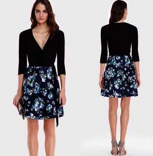 DVF Jewel Silk Combo Strap Dress blue