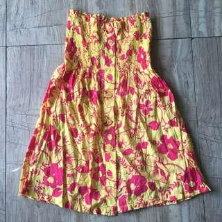 Yellow Floral Tube Dress