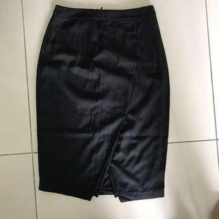Lowela Black Wrap Pencil Skirt