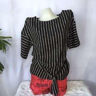 M&S stripes top w/ belt