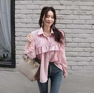 🚚 韓 慵懶個性風襯衫 甜美粉