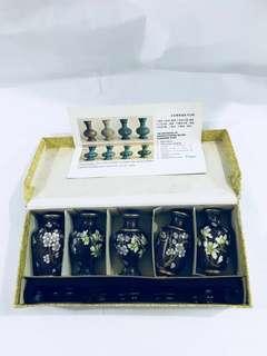 Vintage Beijing 5 miniature cloisonne vases in a box (北京景泰蘭)