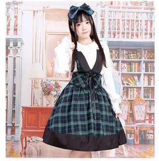 洛丽塔可爱绿格子背带裙lolita