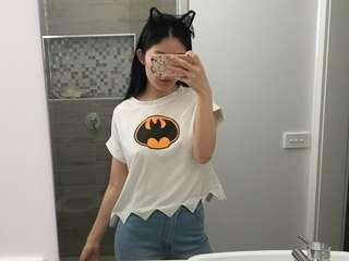 Batman Cropped Shirt with Scalloped/Jagged Hem