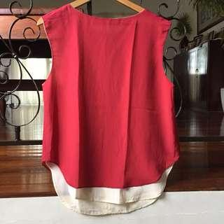 For Me Red Sleeveless Blouse