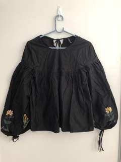 Zara black floral top