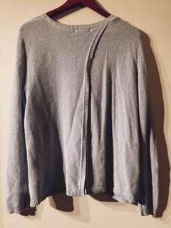 Split Back Sparkle Blue Pullover Sweater