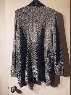 Black/ White Woven Knit Oversize Cardigan